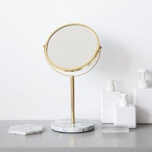 Luxury Marble Base Rose Gold Mirror Makeup Vanity Mirror Home Decor Cosmetic Ladies Office Dormitory Desktop Round Mirror T200624