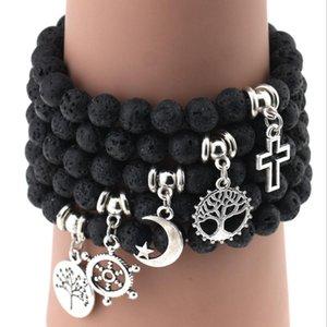DHL epacket ship Hot Sale Natural Volcanic Rock Pendant Bracelet Men and Women Bead Bracelet DJFB90 Charm Bracelets jewelry