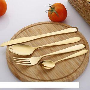 4Pcs Set Gold Cutlery Knife Flatware Set Stainless Steel Tableware Western Dinnerware Fork Spoon Steak Travel Dinnerware Set VT1534