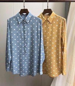 100% Silk Women Polka Dot Print Shirt Long Sleeve Turn Down Collar Soft Sweet Blouse Top