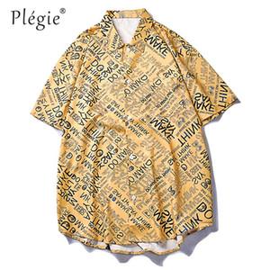 Plegie 전체 문자 인쇄 짧은 소매 여름 셔츠 남성 폴리 에스테르 휴일 하와이 셔츠 싱글 브레스트 하라주쿠 스트리트