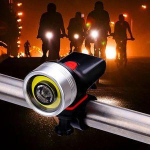 Dağ Bisikleti Gece yolculuğu COB Güçlü Aydınlatma Işık Bisiklet Far USB Şarj Ön Far Siyah Gümüş