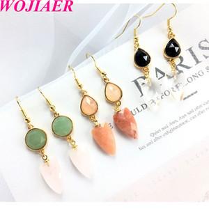 WOJIAER Natural Stone Earring Color matching Beads Rose Quartz Green Aventurine DIY Handmade Simple Drop Earrings Jewelry DBD908