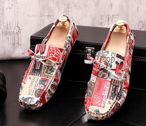 Горячая продажа Мужчины платье обувь Повседневная обувь Плоский Слип-на граффити печати DouDou обувь Свадебная Мокасины chaussure Ьотте