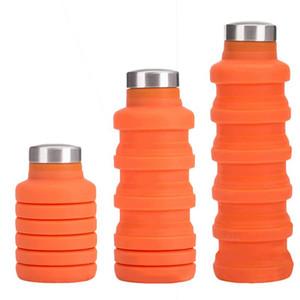 500ML Silikon-Wasserflasche mit Edelstahl-Abdeckung Folding Kaffee-Flasche im Freien Spielraum Trinken zusammenklappbaren Sport Kettle