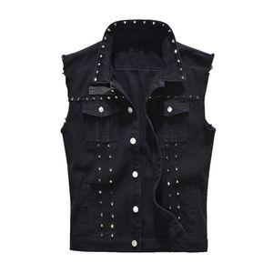 Erkek Yelek Vintage Denim Jeans Yelek Erkek Moda Siyah Kolsuz ceketler Yelek Erkek İlkbahar Sonbahar Perçin Delik Kot Yelek