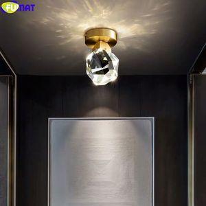 FUMAT كريستال K9 5W COB LED مصباح السقف الممر مدخل البسيطة 1 الضوء Nodic قطع الماس ديكور المنزل مصباح النحاس فاخر