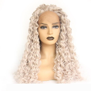 Hand Tied Loose Curly Gray Heat Resistant Fiber Silver Grey Synthetic Lace Front Wig For Women Replacement Wig