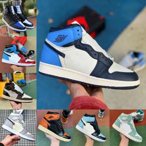 Jumpman 1 Zoom Racer Travis Blue Scotts Fearless Obsidian Mens Basketball shoes UNC 1s Chicago Banned Bred Toe Men Sport Designer Sneaker