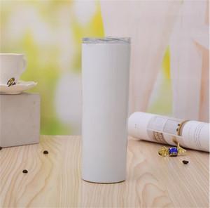 20 once Blank sublimazione Magro Tumbler acciaio inossidabile ha isolato la bottiglia di acqua di vuoto doppia parete portatile Cup con Slide coperchio e paglia
