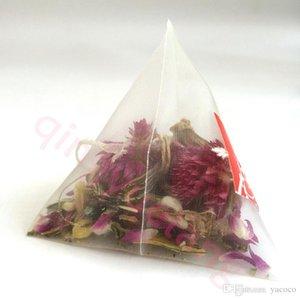 1000 pièces / Lot 5.5 * 7cm Biodégradable non-tissé Filters Pyramide Tea Bag Nylon teabag Chaîne simple avec étiquette transparente sacs vides de thé