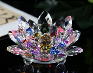 2020 Manufacturers spot wholesale crystal lotus candlestick decoration crystal glass candle stand butter lamp stand home furnishing decorati