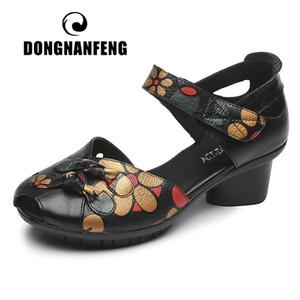 DONGNANFENG Frauen-Dame-Female Mutter echtes Leder Bowknot Schuhe Sandalen MED-Ferse-Sommer-Strand-Retro Blumen 35-41 MLD-515