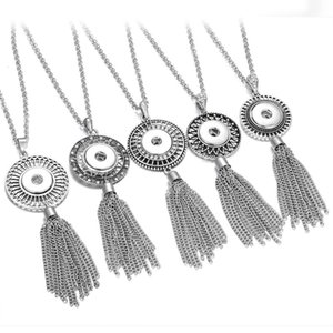 New Tassel Snap Button Necklace Choker Necklace Fit 18mm Snap Buttons Beads Pendant Statement for Women Jewelry