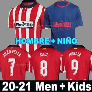 20 21 اتلتيكو مدريد JOAO FELIX البيت الأبيض الأحمر لكرة القدم الفانيلة 2020 2021 KOKE SAUL غودين قميص كرة القدم مجموعات الرجال + الاطفال camiseta دي فوتبول