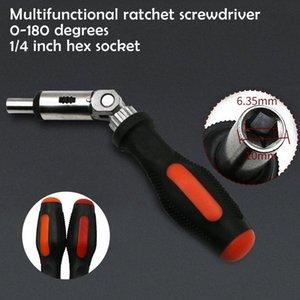 Ratchet chave de fenda 180 graus T do tipo dobrável chave de fenda Set 1/4 Hex interface Bloqueio Desmonte Manutenção Ferramentas acJh #
