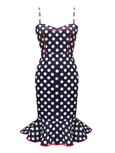 Women's sexy polka dot contrast color lotus leaf display backless hip dress dress clearance