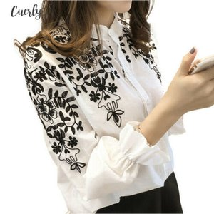 Women Long Sleeve Embroidered Printed Flutter Sleeve Flower Blouse Top Holiday Summmer White Shirt Drop Shipping