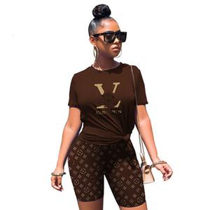 Las mujeres traje diseñador de la marca 2 piezas Conjunto pantalón corto camiseta jersey S-2XL de manga corta cuello de las camisas de los capris del juego del basculador de la tripulación