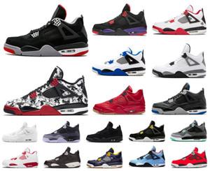 Мужские Jumpman 4 4S IV Баскетбол обувь Бред Крылья Encore Огонь Красный Singles Stealth Oreo Белый цемент Мужчины Дизайнер кроссовки Размер США 7-13