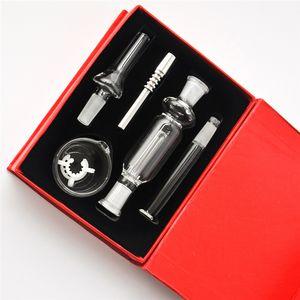 DHL 10 milímetros NC Kits Micro mel Straw Mini Kits de aço inoxidável Dica Bacia de vidro para água da tubulação de óleo pequeno Rigs tubo queimador de cera de óleo mão