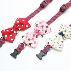 Cat Dog Pet Collar Bell Dot Bow Butterfly Knot Cat Collar Adjustable Buckle Necklace Puppy Dog Collar Pet Supplies