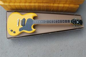 free shipping custom SG yellow white guitar,chrome hardware,mahogany body,black P90 pickups,black pickguard,black headstock,rosewood fret