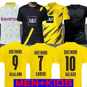 20 21 Haaland Borussia PERIGO camisa de futebol Dortmund 2020 camisa 2021 de futebol 110 REUS Blackout SANCHO BRANDT Men + Crianças kit terceiro maillot