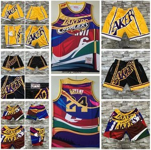 2020 men basketball New Los AngelesnbaLakers23 James Mitchell&ness European dyed retro jersey and pant Shorts 2019