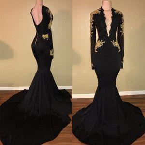 Черное золото Mermaid Вечерние платья 2020 Sexy Глубокий V шеи Аппликация Кружева атласная Backless Длинные рукава Формальные Вечерние платья Выпускные платья