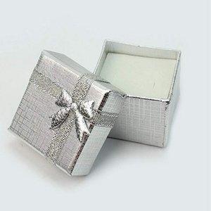 1PC ساحة الفضة والمجوهرات الدائري هدية صندوق من الورق المقوى في الوقت الحاضر حالة حامل عيد الحب صناديق الهدايا