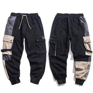 Мужчины Hip Hip штаны Streetwear Цвет Блок Лоскутной Harajuku Pant Jogger боковой карман лента Sweatpant Брюки Hipster