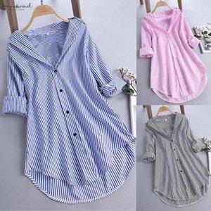 Womens Blouse Shirts Lantern Sleeve Holidays Summer Long Sleeve Tops And Blouses Stripes Casual Linen Beach Wear Bluzki Damskie Women Ad