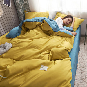 Yellow Blue Polyester Cotton Bedding Set Queen Size Bed Linen King Bedclothes Set Duvet Cover Fitted Sheet Sets Double Bedding