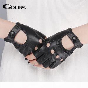 S Spring Women &#039 ;S Genuine Leather Gloves Driving Unlined Goatskin Half Finger Gloves Fingerless Gym Fitness Fashion Women Gloves