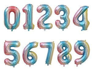 32inch Rainbow Number Foil Balloons Birthday Party Decorations Kids Wedding Decorations Rose Gold Silver Balloons Party Supplies DHB673