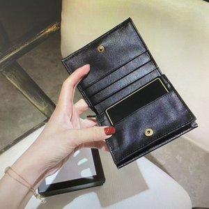 466492 محفظة بطاقة الأزياء Marmont الكلاسيكية G الائتمان حالة عملة مخلب مصغرة مبطن الجلود قصيرة الحقيبة محفظة المرأة حامل البطاقة الرئيسية بور LGKG