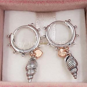 Authentique argent 925 Goujons coeur Conch Shell Boucles d'oreilles Fits Pandora style européen Goujons Bijoux 289000C00