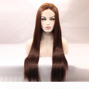 High Density Yaopoly Ombre Brown Straight Wig body wave Women Synthetic Lace Front Wigs Heat Resistant