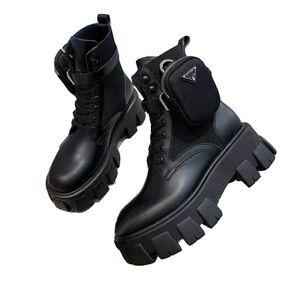 Yeni Erkekler Prada ve Kadınlar Gerçek Deri Platformu Son Çanta Çizme Üst Günlük Ayakkabılar Üçlü Martin botları Boyutu 35-45 Pulse