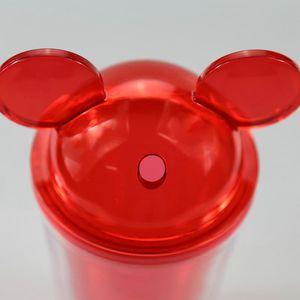 Купол Ear С 8Colors Summer Стро массажеры Wall пить с Кубком массажера Пластикового Clear Красочного Lid Mouse Double Акриловой Tumbler rOJno 15 унций