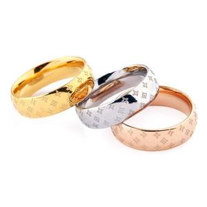 Klassische Designer Ringe Edelstahl Luxus-18K Gold überzogene Liebhaber Ringe Männer Frauen Ring Rose Gold überzogene Schmucksachen Buchstabe L Ring