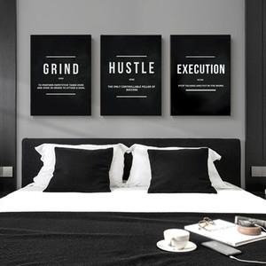 Grind Hustle Execution Motivzitat Poster und Drucke auf Leinwand-Malerei-Wand-Kunst Bilder für Wohnzimmer-Büro-Dekor