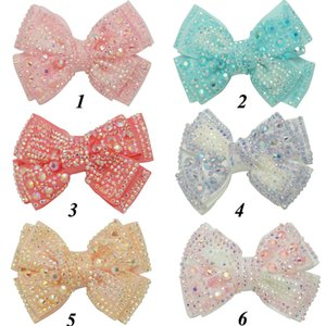 """12 Pieces lot 4"""" Plain Rhinestone Hair Bows With Black Clips For Kids Girls Boutique Crystal Bows Hairgrips Hair Accessories Y200710"""