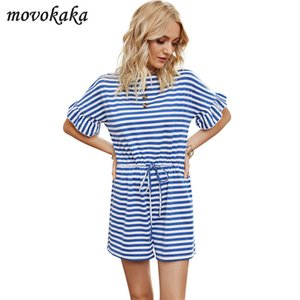 MOVOKAKA 패션 빈티지 스트라이프 Playsuit 여성 여름 여성 Playsuits 그리고 옷을 빌려 여성 우아함 장난 꾸러기 Playsuit 캐주얼