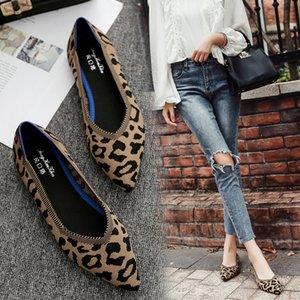 Bailarinas do leopardo tricô sapatos baixos Mulher de verão de cor mista sapatos pontudos deslizar sobre mocassins senhoras rasa alpercatas acolhedor