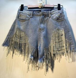 2020 Summer Fashion Women's Heavy Rhinestone Fringed Jeans Shorts Female High Waist Hole Denim Shorts female short mujer w885