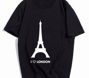 Tamanho camisa Eu amo Londres T Torre romântico engraçado Design de Moda camiseta Homme algodão macio Hipster Camiseta UE