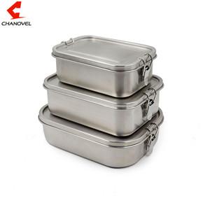 CHANOVEL 304 Edelstahl Lunch Box Single Layer Adult Mittagessen-Behälter versiegelt Leakproof rechteckig mit Teiler T200710