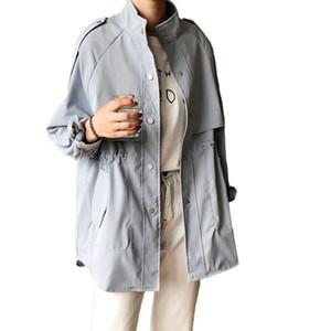 Tangada Frauen übergroßen blauen Trenchcoat 2020 Art und Weise elegante lange Hülse Damen-Oberteile hoher Qualität ASF30 verlieren